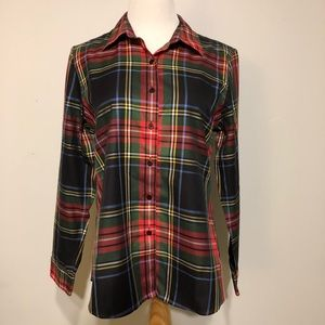 FOXCROFT- Holiday Plaid Button- Up Shirt- Size 14P